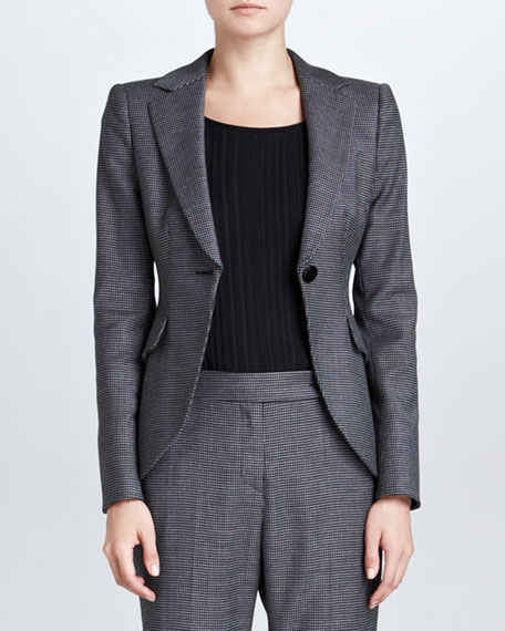 Houndstooth Jacket, Gray/Black