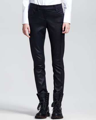 Leather-Front Flannel Skinny Pants