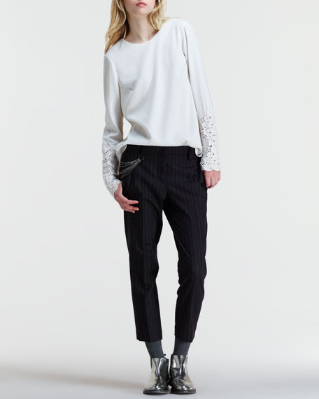 Slouchy Cropped Pinstripe Pants