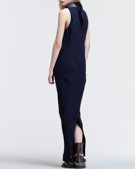 Silk Crepe Detachable-Collar Gown