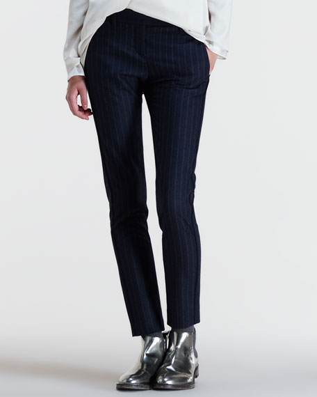 Pinstripe-Front Flannel Ankle Pants