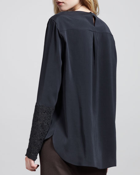 Silk Lace-Sleeve Top