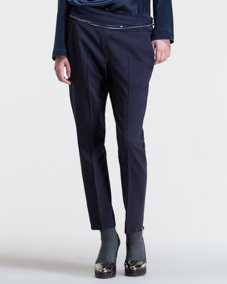 Cropped Cummerbund-Waist Pants