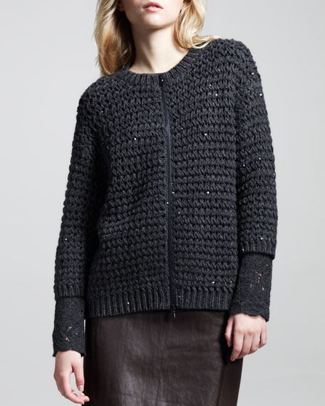 Crocheted Paillette Zip Cardigan