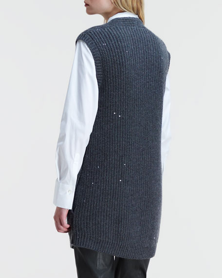 Double-Breasted Sleeveless Cardigan