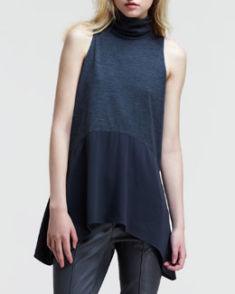 Brunello Cucinelli Sleeveless Combo Trapeze Turtleneck