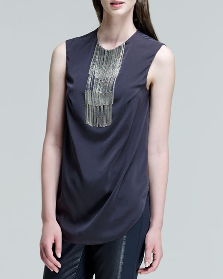 Sleeveless Fringe-Bib Top