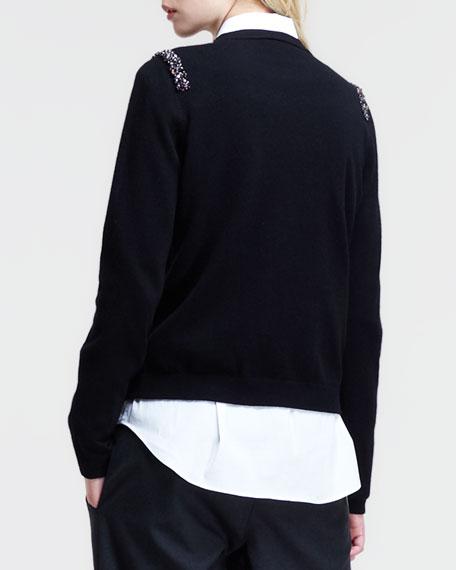 Beaded-Shoulder Zip Cardigan