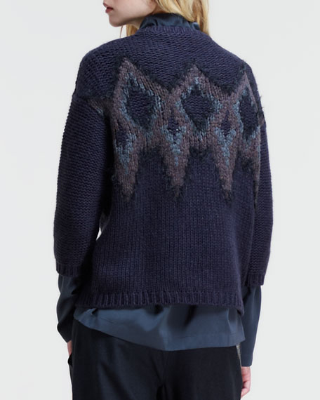 Intarsia-Diamond Cashmere Knit Sweater