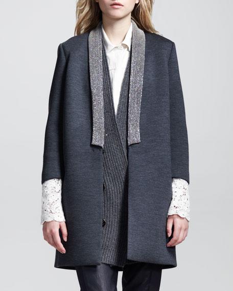 Coated Monili-Collar Long Jacket