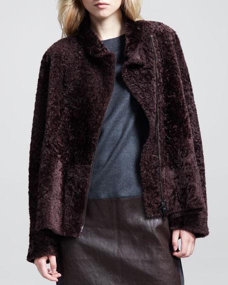 Reversible Shearling-Leather Short Coat