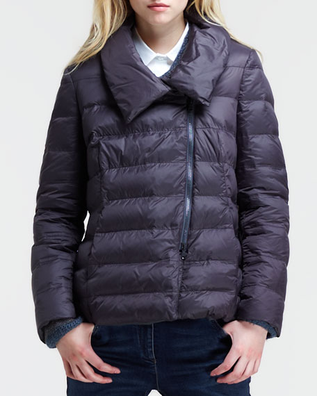 Quilted Puff Jacket with Removable Fox Collar