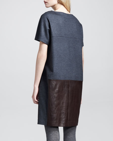Paneled Felt-Leather Shift Dress
