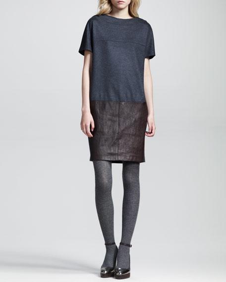 Paneled Felt-Leather Shift Dress