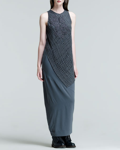 Sleeveless Lace-Overlay Silk Gown