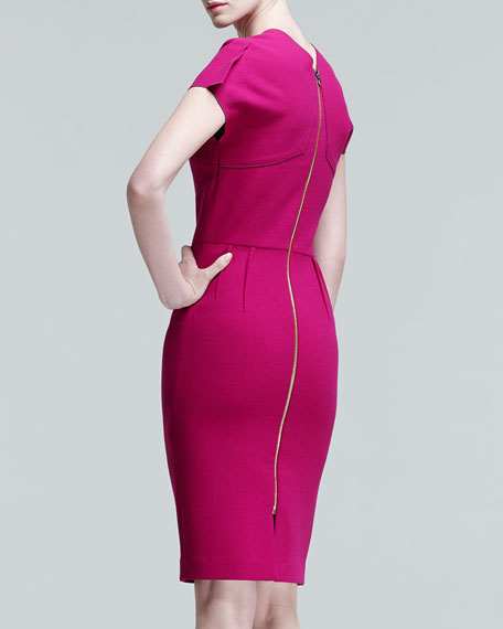 Myrtha Folded Sheath Dress, Magenta