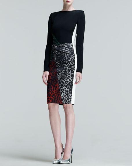 Dresden Leopard-Jacquard Combo Dress
