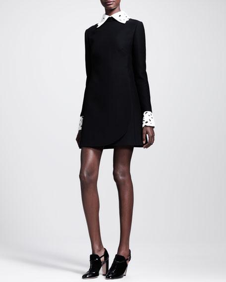 A-Line Detachable-Collar Shift Dress