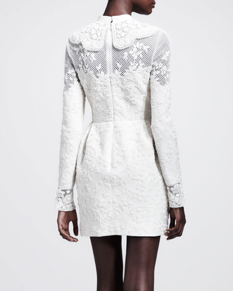 Long-Sleeve Embroidered Wool Dress