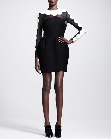 Bicolor Scallop-Edged Dress
