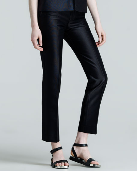 Pier Straight-Leg Ankle Pants, Navy
