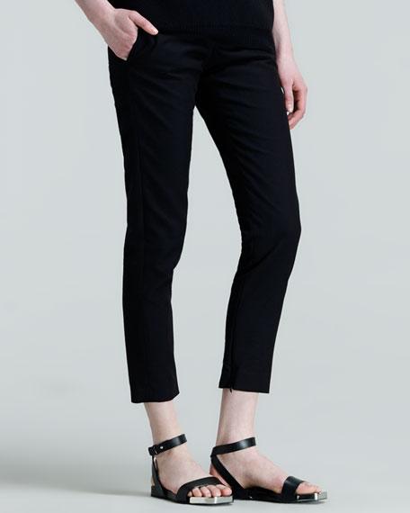 Pier Straight-Leg Ankle Pants, Black