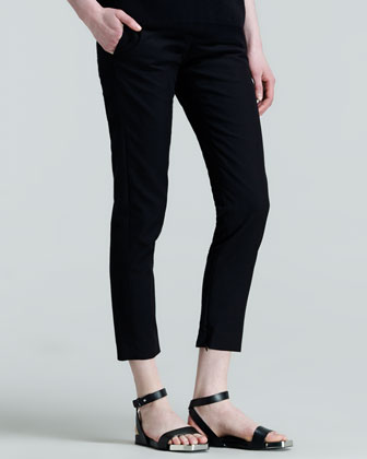 Pier Straight-Leg Ankle Pants, Black