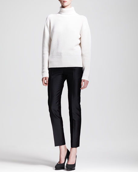 Paolo Slim Creased Ankle Pants, Dark Stone