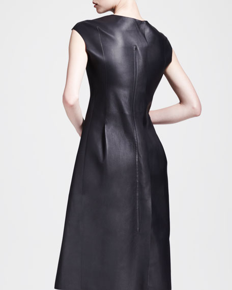 Popart Seamed Side-Pleat Leather Dress