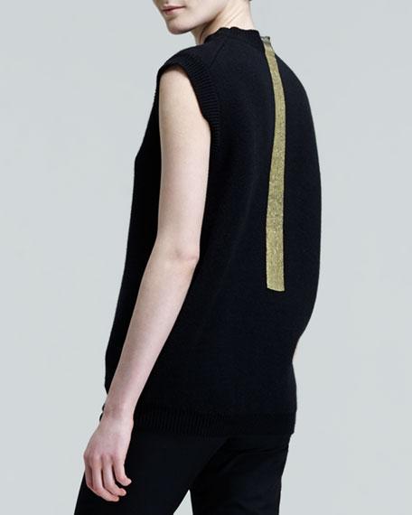 Cap-Sleeve Gold-Stripe Top