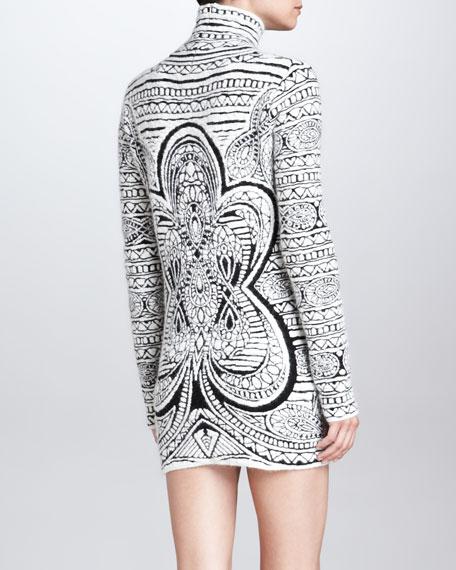 Emilio Pucci Graphic-Print Long-Sleeve Dress, White/Black