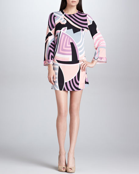 Bracelet-Sleeve Print Dress, Pink/Black/Ivory