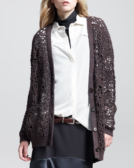 Lace-Knit Long Cardigan