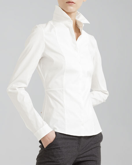 Stretch Cotton Blouse, Cream