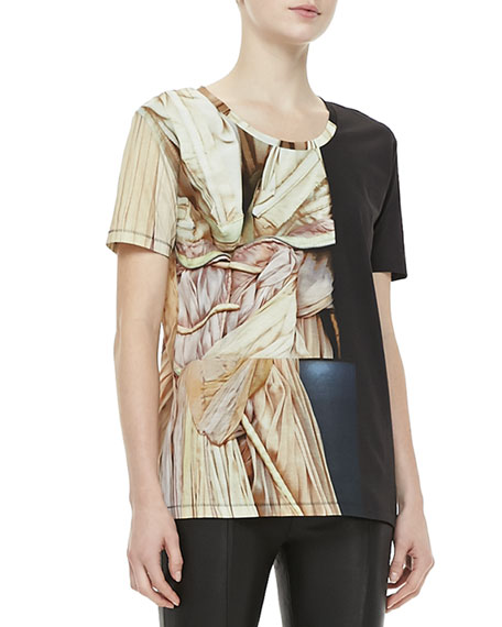 Bijou Short-Sleeve Printed Jersey Top