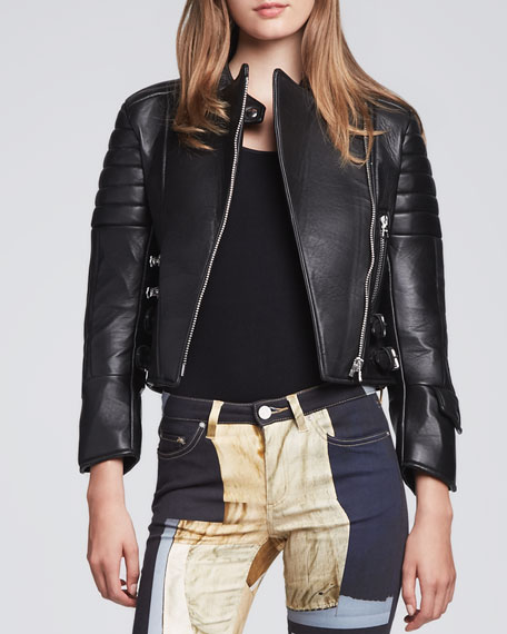 Asymmetric-Zip Leather Moto Jacket, Black