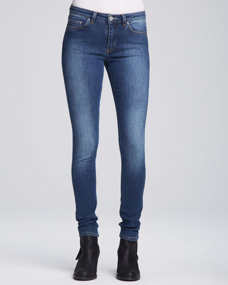 Cropped Mid-Rise Skinny Jeans, Medium Blue