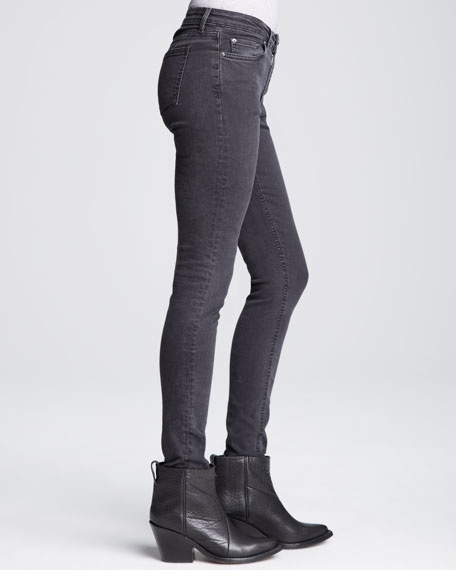 Cropped Mid-Rise Skinny Jeans, Faded Black