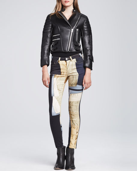 Patchwork-Print Skinny Jeans, Multi