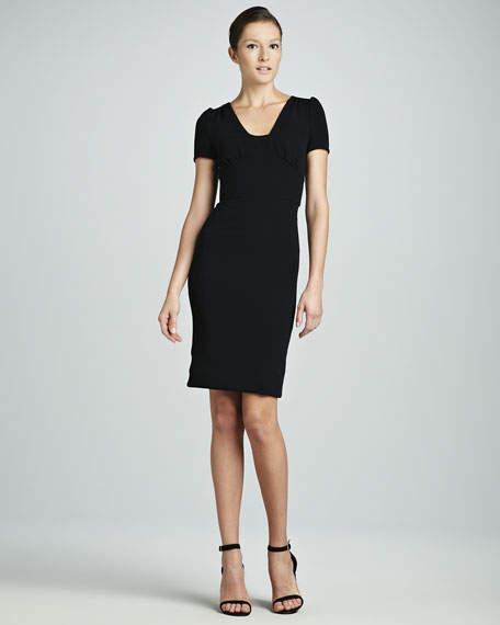 Viscose Short-Sleeve Dress, Black