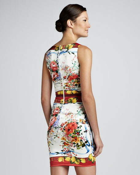 Ruched Floral and Lemon-Print Dress