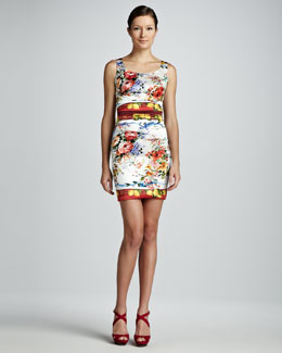 Dolce & Gabbana Ruched Floral and Lemon-Print Dress
