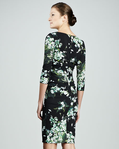 Lily of the Valley-Print 3/4-Sleeve Ruched Dress