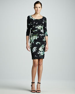 Dolce & Gabbana Lily of the Valley-Print 3/4-Sleeve Ruched Dress