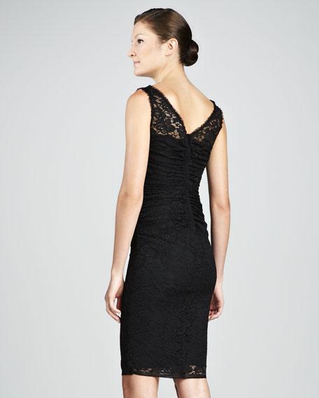 Lace V-Neck Dress, Black