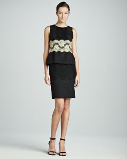 Dolce & Gabbana Contrast Lace Peplum Sheath Dress, Black