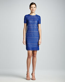 Akris punto Allover Lace Dress, Royal