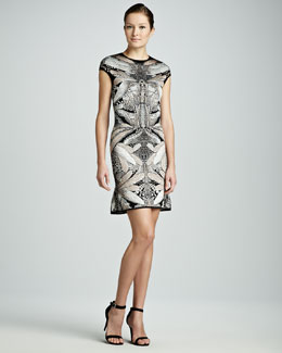 Alexander McQueen Dragonfly Cap-Sleeve Knit Dress