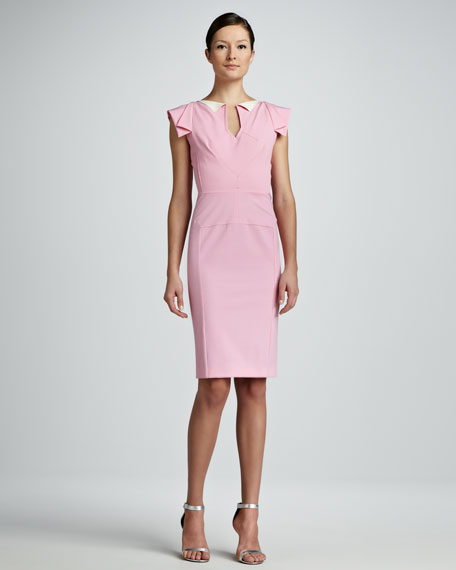 Cap-Sleeve Sheath Dress, Light Pink