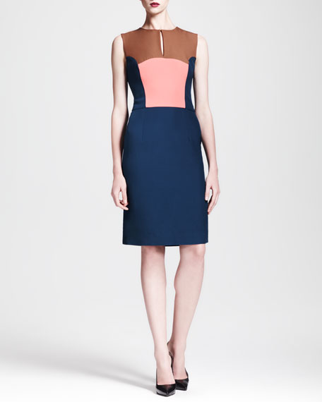 Sleeveless Colorblock Keyhole Dress